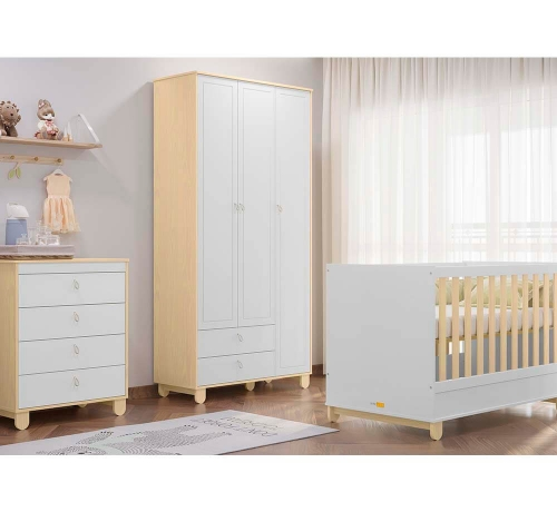 Quarto Infantil Rope 3 Portas Natural/Branco Soft - Matic