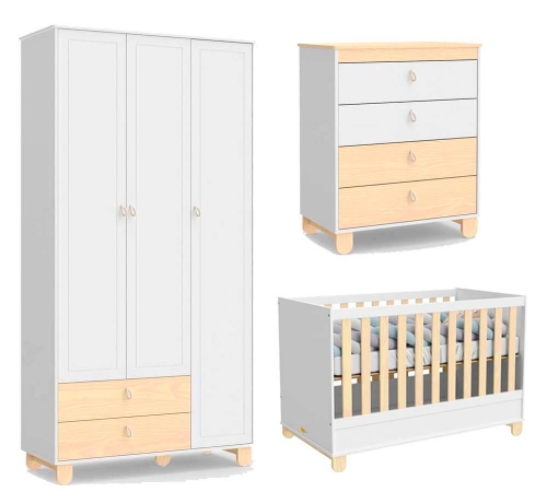 Quarto Infantil Rope 3 Portas Branco Soft/Natural - Matic