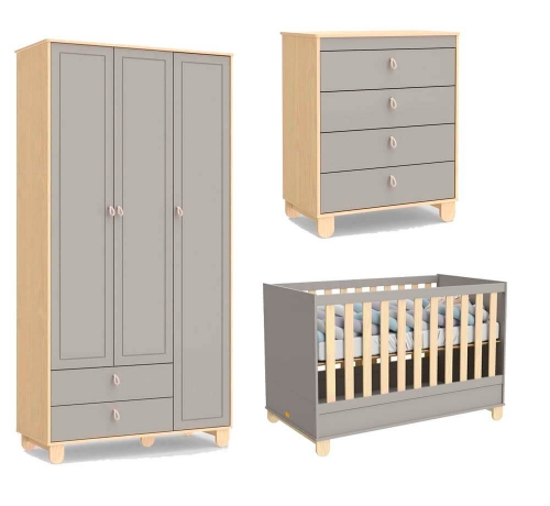 Quarto Infantil Rope 3 Portas Natural/Cinza - Matic
