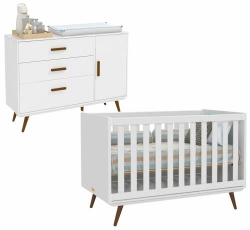 Cômoda Infantil Retrô com Porta e Berço Retrô Branco/Eco Wood - Matic
