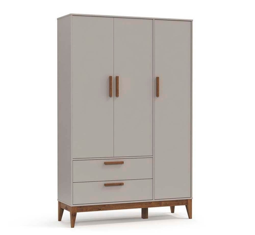 Guarda Roupa Infantil 3 Portas Nature Cinza com Pés Eco Wood - Matic