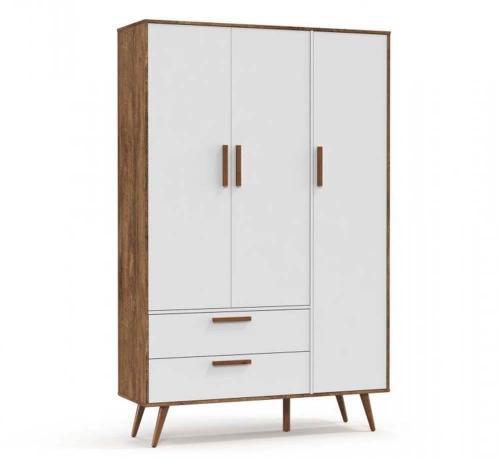 Guarda Roupa Infantil 3 Portas Retrô Branco Soft/Teka com Pés Eco Wood - Matic
