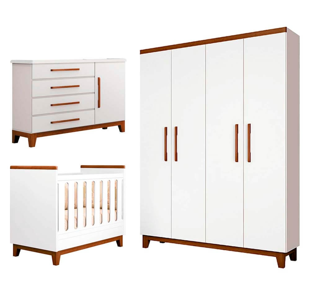 Jogo de quarto Wood Branco acetinado/Hannover  Planet Baby -